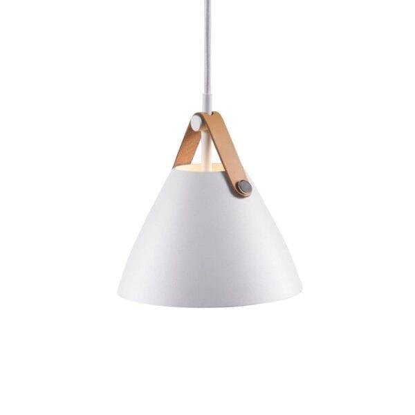 Nordlux lampe strap 16 pendel i hvid med brun strap