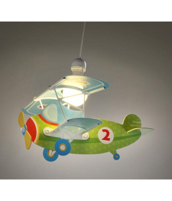 boernelampe-flyvemaskine-groen
